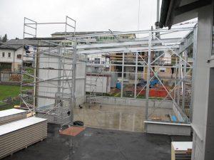 Stahlbau FMT Lagerhalle, Montage